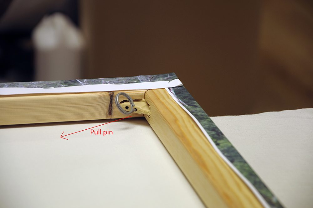 <h4>Once tensioned, the pins are release by pulling the pin as shown. This is done in all 4 corners</h4>