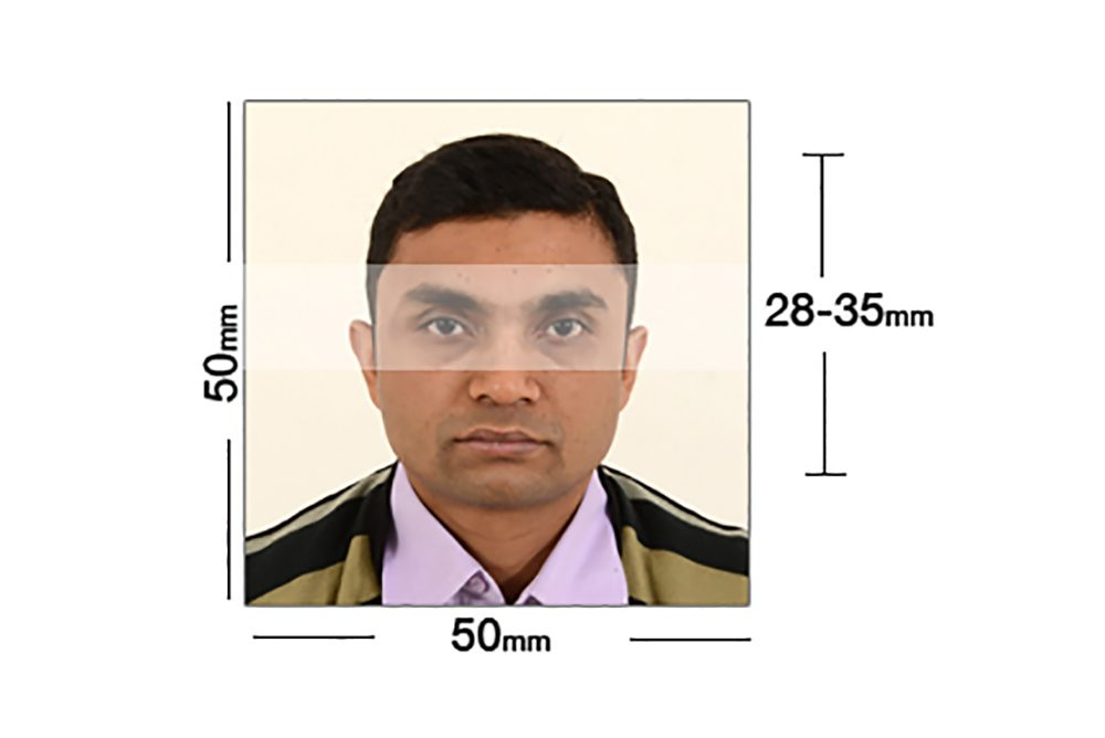 <h2> Indian visa and passport photo example with measurements </h2>