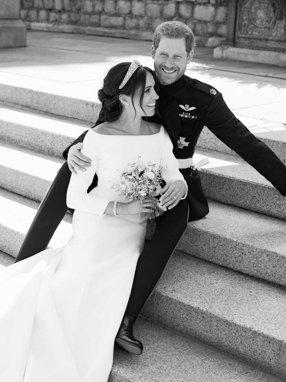 <h4>A black and white image from Alex Lubomirski of Harry and Meghan </h4>